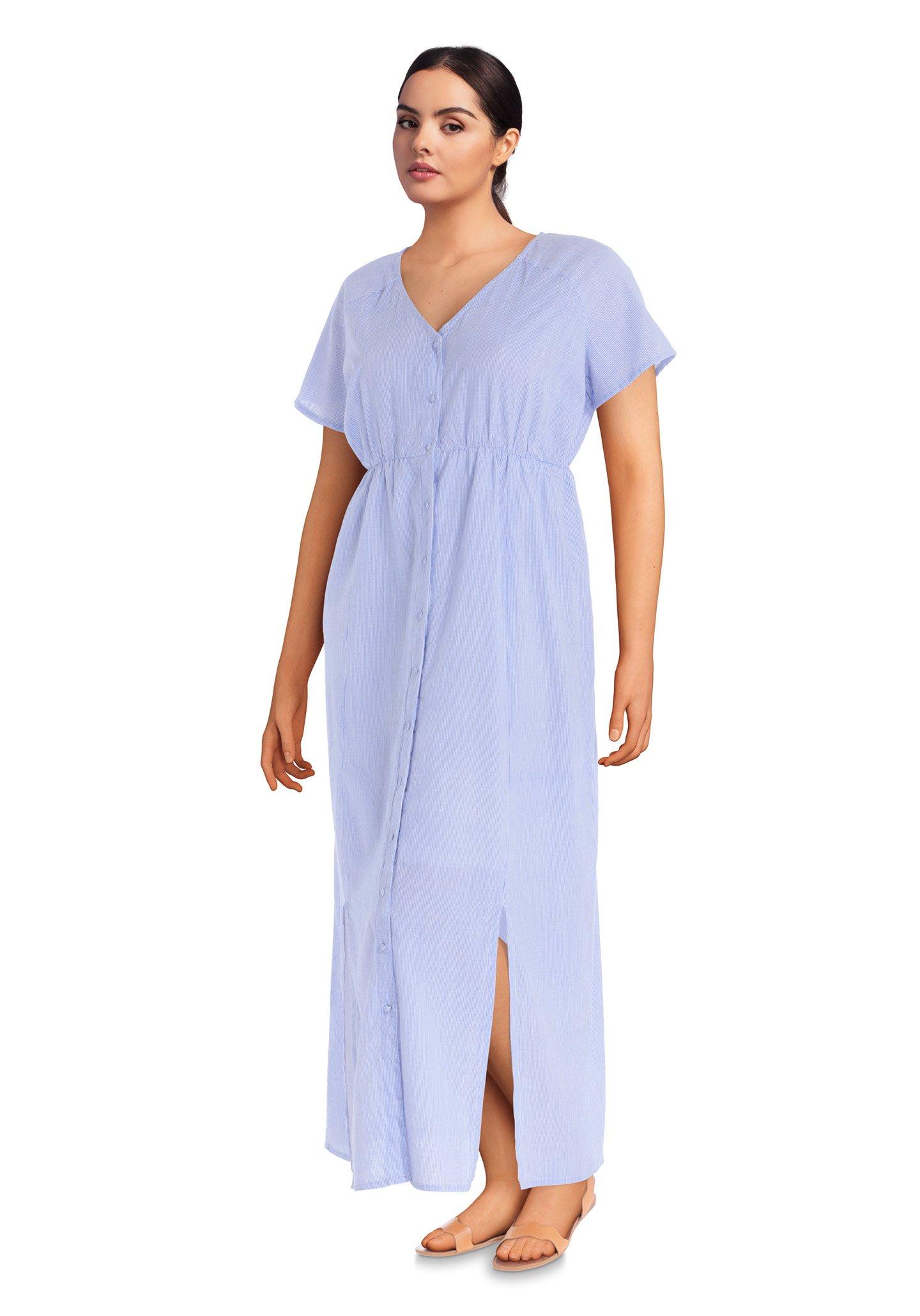 Gestreepte blauwe maxi-jurk