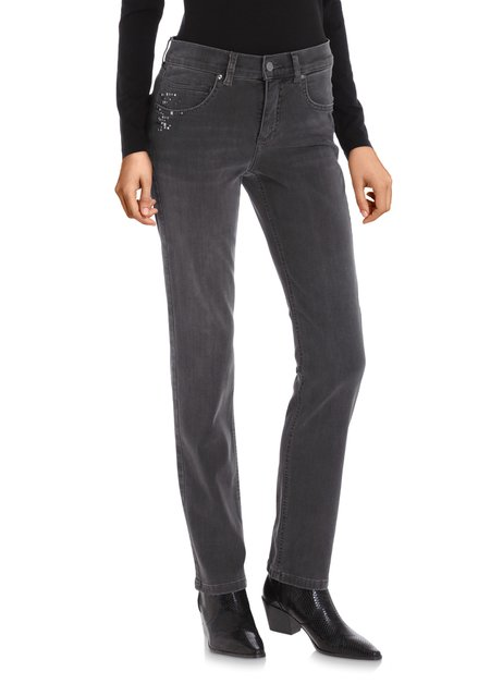 Antraciet jeans met strass – regular fit