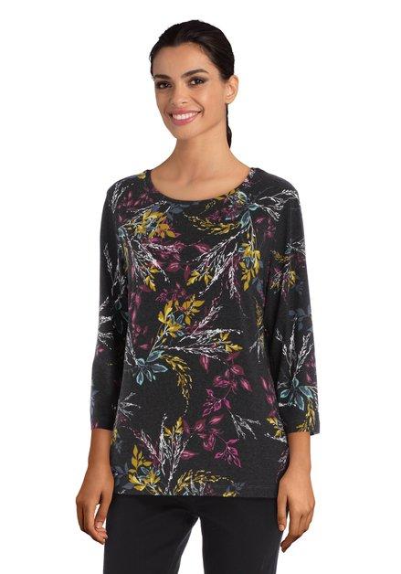 Antraciet T-shirt met kleurrijke bloemen