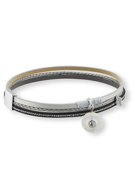 Armband met zilverkleurig leer effect