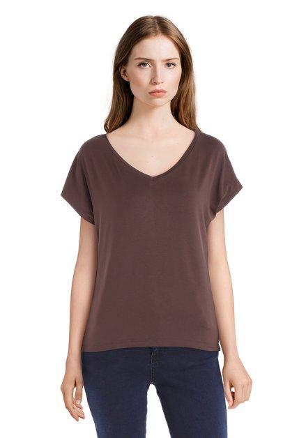 Basic bruin T-shirt met V-hals