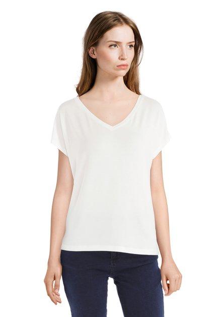 Basic ecru T-shirt met V-hals