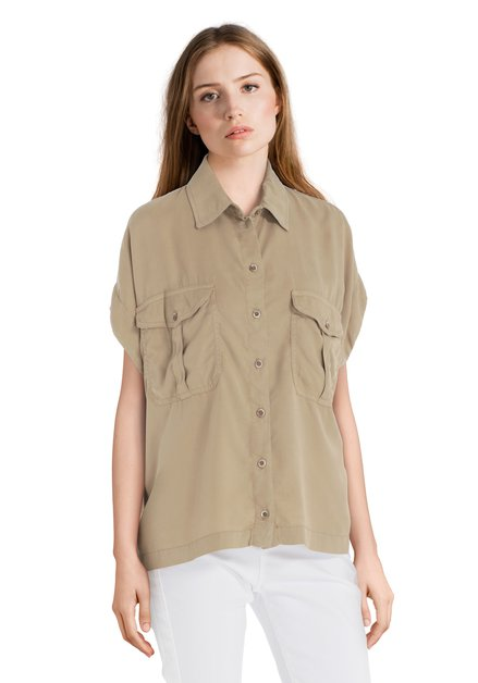 Beige blouse in lyocell