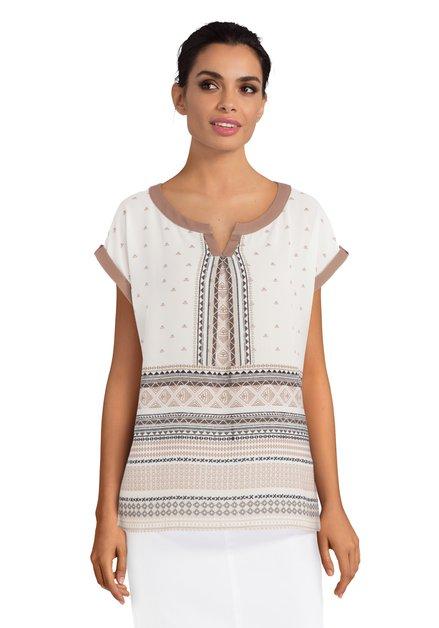 Beige blouse met bruine print