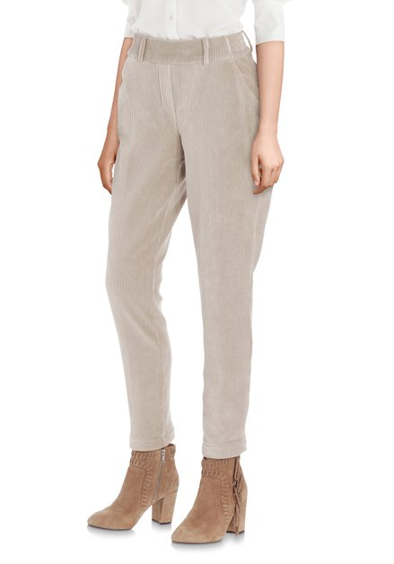 Beige broek in geribd fluweel - slim fit