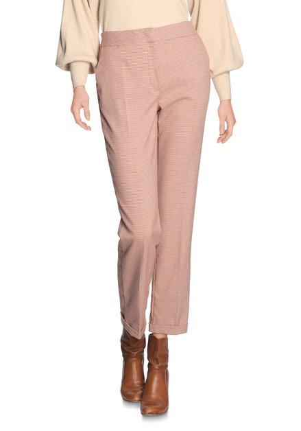 Beige broek met bruin-rode ruitjes - straight fit