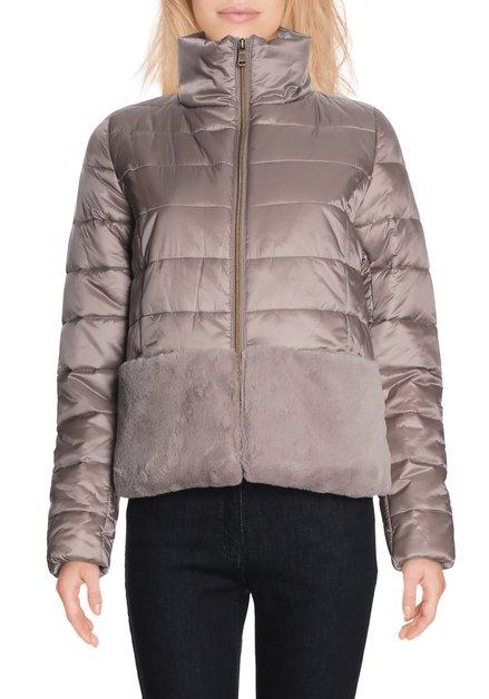 Beige gematelasseerde jas met nepbont