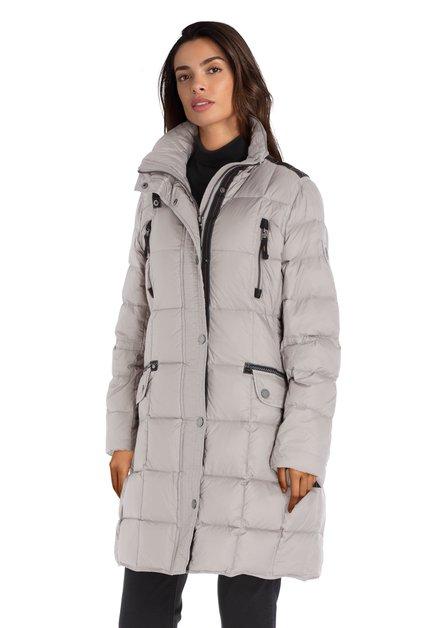 Beige gewatteerde jas met afneembare kap