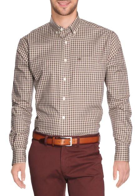 Beige hemd met bruin-rode ruiten - comfort fit