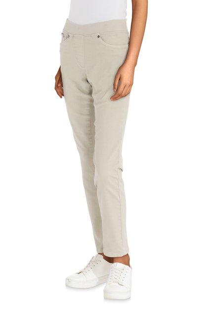 Beige jeans met elastische taille - straight fit