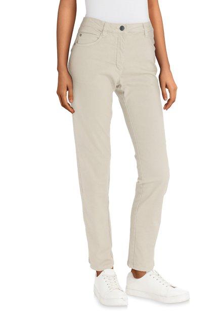 Beige jeans met sierstiksels - slim fit