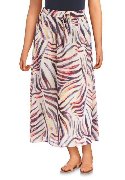 Beige rok met kleurrijke exotische print