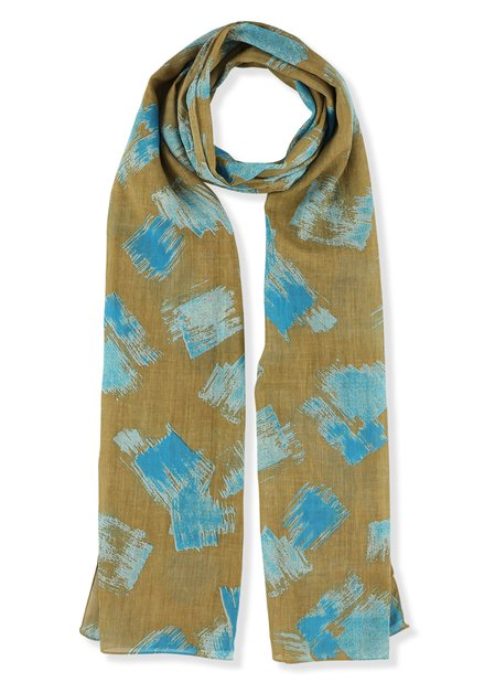 Beige sjaal met blauwe vlekken