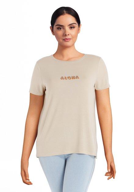 """Beige T-shirt met tekst """"ALOHA"""""""