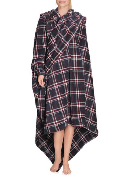 Blauw-bordeaux geruite plaid