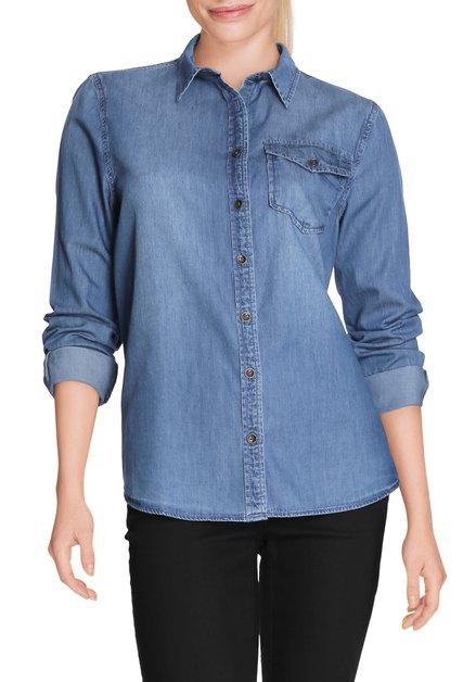 Blauw denimhemd in stretchstof