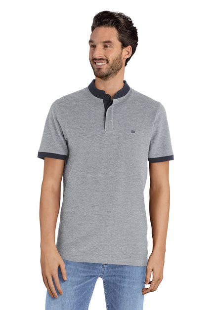 Blauw en wit T-shirt met knopen