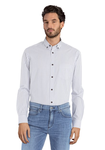 Blauw-geel geruit hemd -Ramiz - regular fit