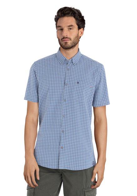 Blauw geruit hemd - modern fit