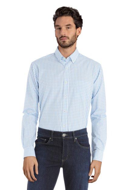 Blauw geruit hemd - regular fit