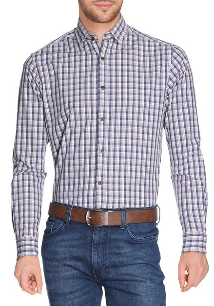 Blauw geruit hemd - slender fit