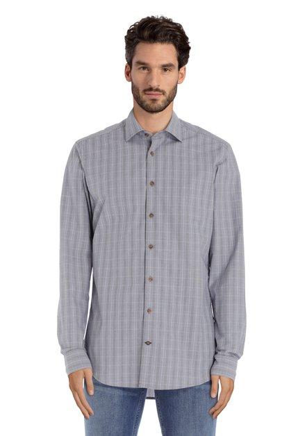 Blauw geruit hemd - slim fit