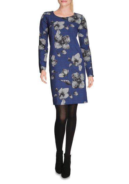 Blauw geruit kleed met grijze bloemen