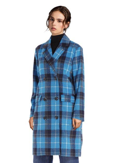 Blauw geruite mantel met dubbele knopenrij