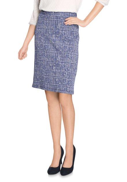Blauw gespikkelde rok met elastische taille