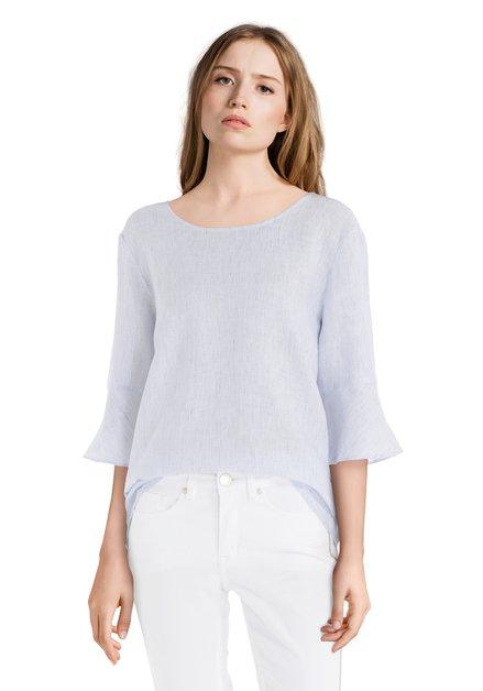 Blauw gestreept linnen blouse
