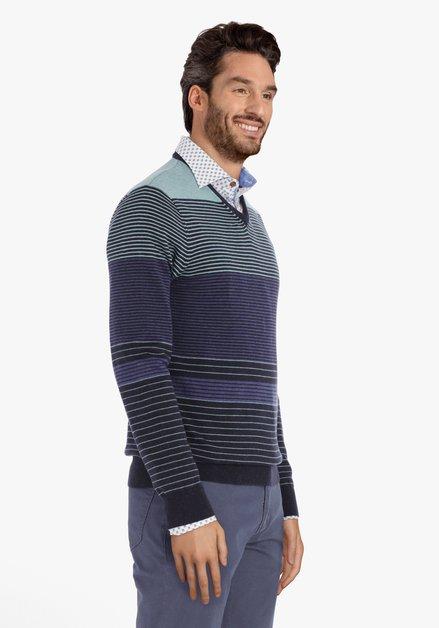 Blauw gestreepte trui met V-hals