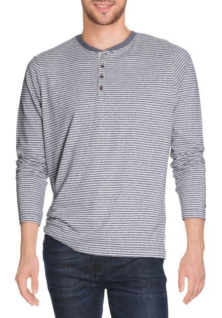 Blauw-grijs gestreept T-shirt met maokraagje