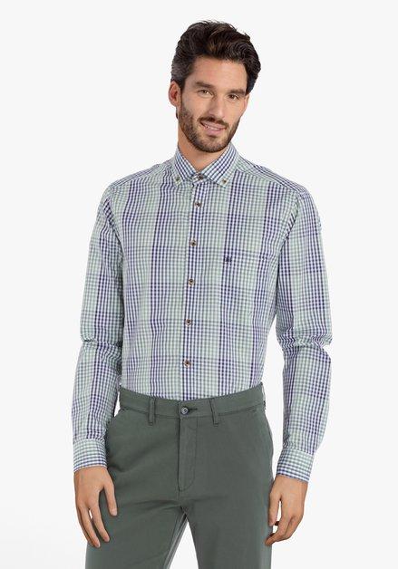 Blauw-groen geruit hemd – regular fit