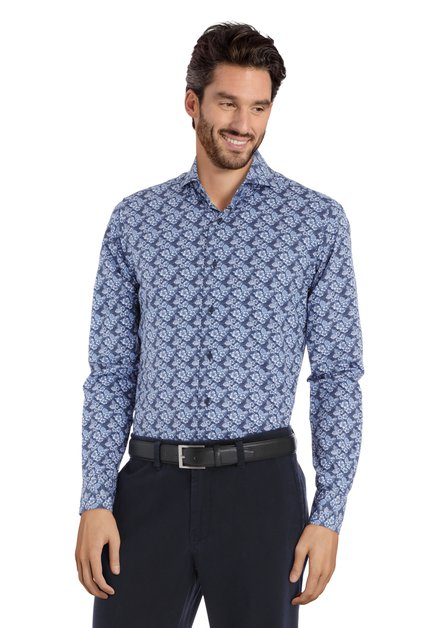 Blauw hemd met bloemen - slim fit