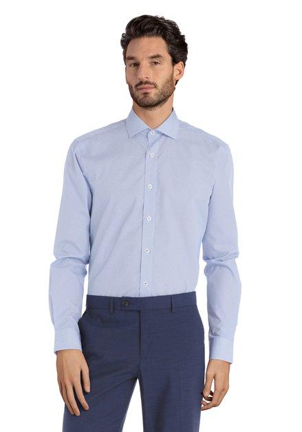 Blauw hemd met cirkeltjes – Sigmund - slender fit