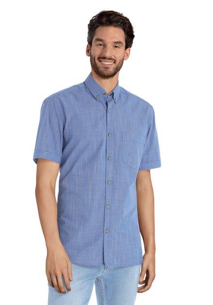 Blauw hemd met fijne witte print – slender fit