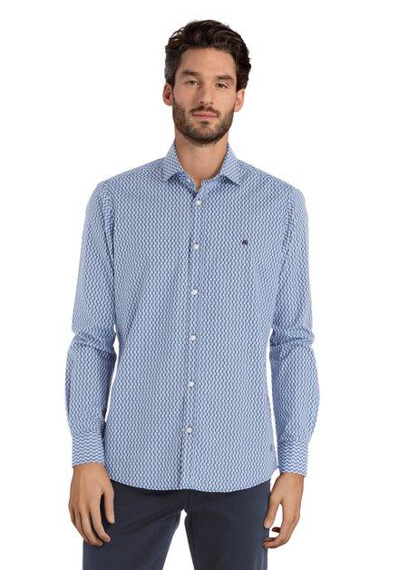 Blauw hemd met geometrische print – modern fit