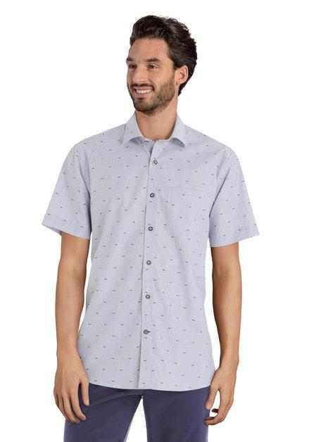 Blauw hemd met haai motief - regular fit