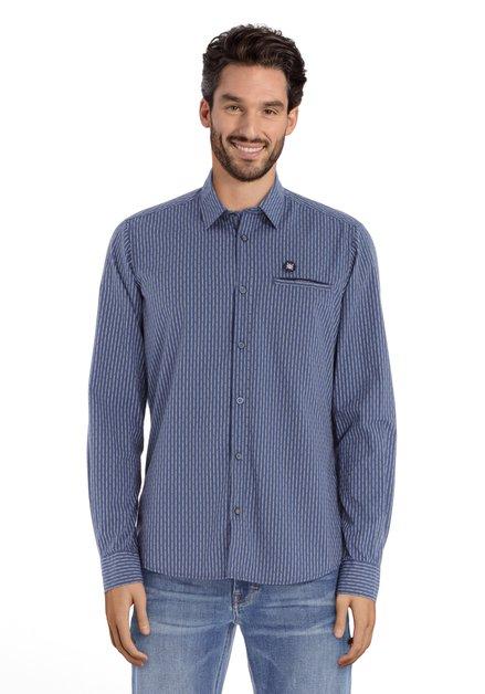 Blauw hemd met lichtgrijze strepen