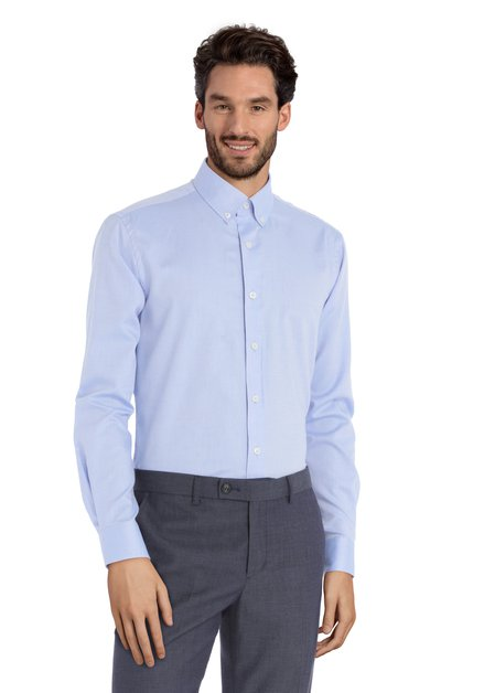 Blauw hemd met minimotief – Simon - Slender fit