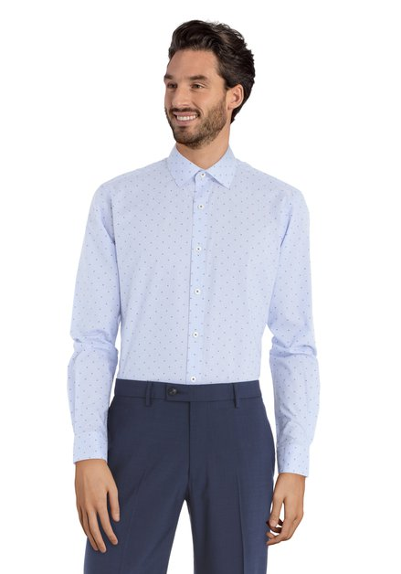 Blauw hemd met minimotief – Svend - slender fit