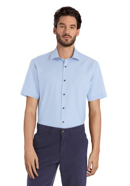 Blauw hemd met minimotief - Sepp – slender fit