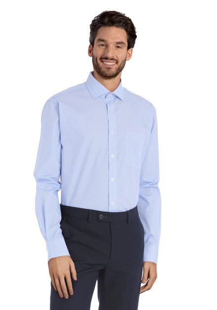 Blauw hemd met miniprint – Claudio - comfort fit