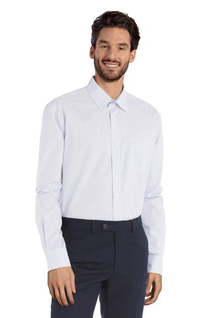 Blauw hemd met miniprint – Clement - comfort fit