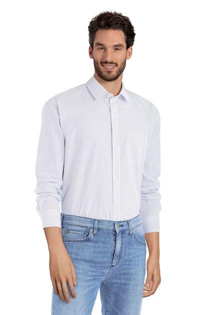 Blauw hemd met miniprint - comfort fit