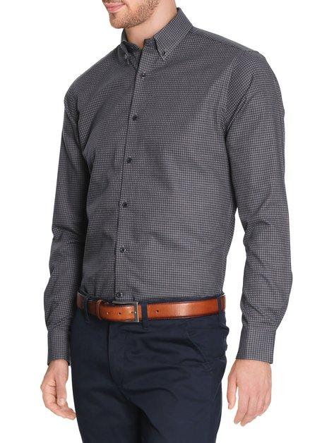 Blauw hemd met miniprint - slender fit