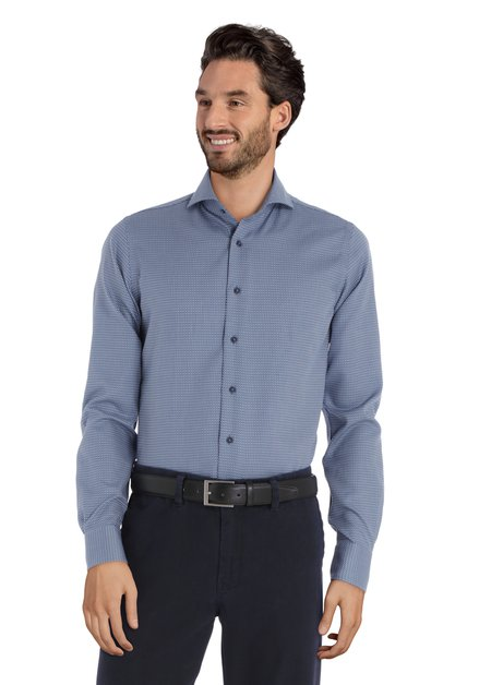 Blauw hemd met miniprint - slim fit