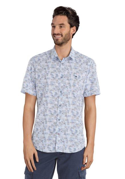 Blauw hemd met motief – modern fit