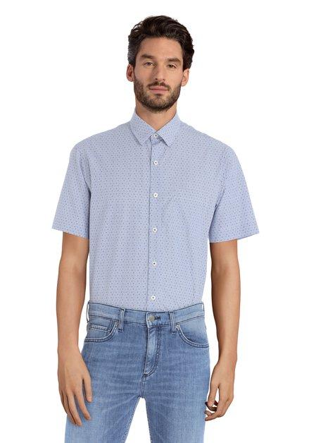 Blauw hemd met motief - Robertus – regular fit