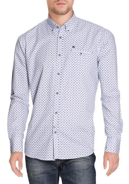 Blauw hemd met okerkeurige bolletjes - modern fit